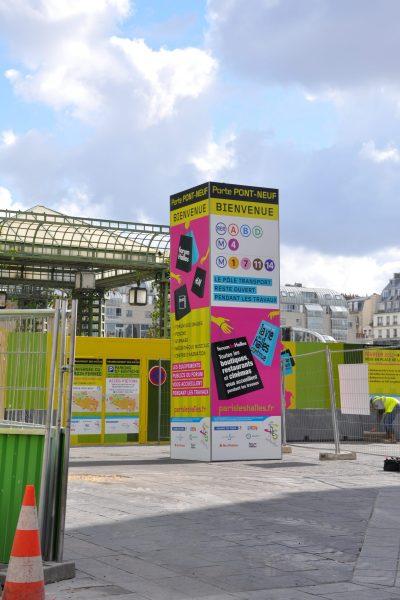 Totem monumeltal - Communication chantier des Halles-PAris